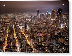 Night View Of Kowloon Acrylic Print by Ray Cheung