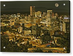 Night View Of Portland City Downtown Acrylic Print by Tatiana Boyle