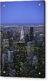 Night View Of The Manhattan Skyline Acrylic Print by Todd Gipstein