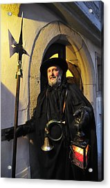 Night Watchman In Old Historic Town Acrylic Print by Matthias Hauser