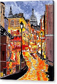 Nighttime In Paris Acrylic Print by Connie Valasco