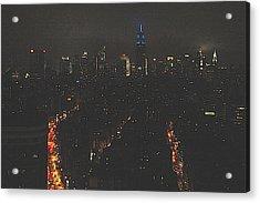Nighttime Manhattan Skyline From Houston Street Acrylic Print