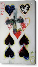 Acrylic Print featuring the painting Nine Of Hearts 21-52 by Cliff Spohn