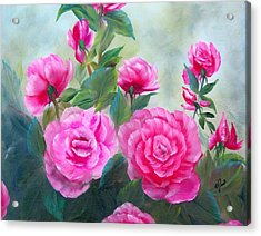 Nine Pink Roses Acrylic Print by Joni McPherson