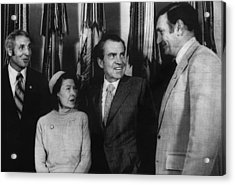 Nixon Presidency. From Left Former New Acrylic Print by Everett