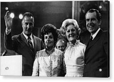 Nixon Presidency. From Left Us Vice Acrylic Print by Everett