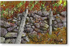 Acrylic Print featuring the drawing N.j. Rock Fence by Jim Hubbard
