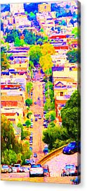 Noe Street In San Francsico 2 . Long Cut Acrylic Print by Wingsdomain Art and Photography