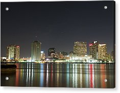 Acrylic Print featuring the pyrography Nola Nights by Ray Devlin