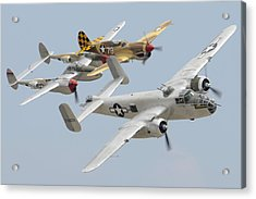 North American B-25j Mitchell Curtiss P-40n Warhawk Lockheed P-38l Lightning March 14 2011 Acrylic Print by Brian Lockett