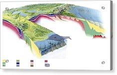 North American Geology And Oil Slick Acrylic Print by Gary Hincks
