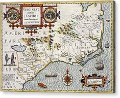 North Carolina Acrylic Print by Jodocus Hondius