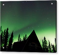 Northern Lights Liven Under The Dipper Acrylic Print by John Aldabe