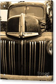 Nostalgic Rusty Old Ford Truck . 7d10281 . Sepia Acrylic Print by Wingsdomain Art and Photography