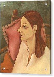 Nosy Woman With Red Pillow Acrylic Print by Rachel Hershkovitz