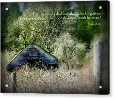 Not Forgotten Barn Psalm Acrylic Print by Cindy Wright