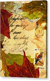 Note From Nature Acrylic Print by Phillip  Jaeger