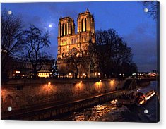Notre Dame By Full Moon Acrylic Print by Amelia Racca