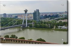 Novy Most Bridge - Bratislava Acrylic Print by Jon Berghoff