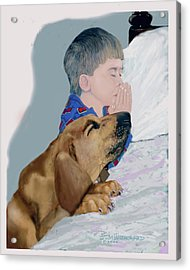 Acrylic Print featuring the drawing Now I Lay Us Down To Sleep by Jim Hubbard