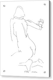 Acrylic Print featuring the drawing Nude Female Drawings 8 by Gordon Punt