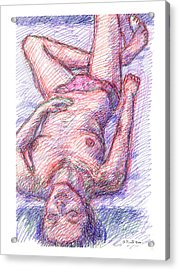 Acrylic Print featuring the drawing Nude Female Sketches 6a by Gordon Punt