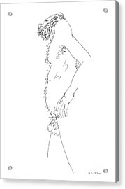 Acrylic Print featuring the drawing Nude Male Drawings 6 by Gordon Punt