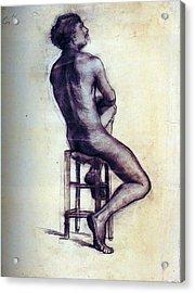Nude Man Sketch Acrylic Print by Sumit Mehndiratta