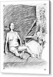 Nude Man With Skeleton Acrylic Print by Adam Long