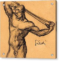 Nude Men Acrylic Print by Odon Czintos