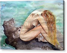 Nude On A Rock II. Acrylic Print by Paula Steffensen