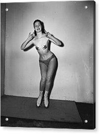 Nude On Skates Acrylic Print by George Konig