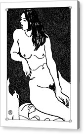 Nude Sketch 32 Acrylic Print by Leonid Petrushin