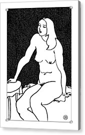 Nude Sketch 34 Acrylic Print by Leonid Petrushin