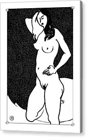 Nude Sketch 47 Acrylic Print by Leonid Petrushin