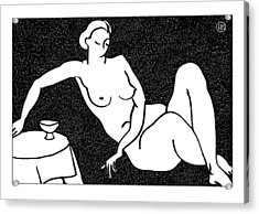 Nude Sketch 62 Acrylic Print by Leonid Petrushin