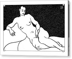 Nude Sketch 63 Acrylic Print by Leonid Petrushin