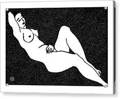 Nude Sketch 66 Acrylic Print by Leonid Petrushin