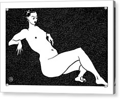 Nude Sketch 70 Acrylic Print by Leonid Petrushin