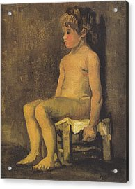 Nude Study Of A Little Gir Seated Acrylic Print by Vincent Van Gogh