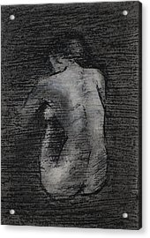 Acrylic Print featuring the drawing Nude Study....miniature by Lynn Hughes