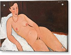 Nude With Coral Necklace Acrylic Print