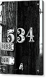 Numbers Acrylic Print by Bret Worrell