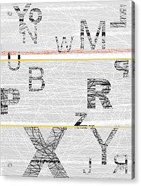 Numbers Grey Acrylic Print by Naxart Studio