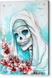 Nun With Flowers Acrylic Print by Heather Calderon