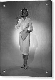 Nurse Holding Medical Chart Posing In Studio, (b&w), Portrait Acrylic Print by George Marks