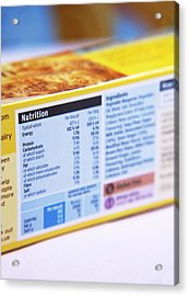 Nutrition Label Acrylic Print by Veronique Leplat