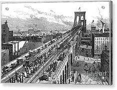 Ny: Brooklyn Bridge, 1883 Acrylic Print by Granger