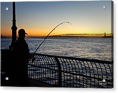Ny Harbor Sunset Acrylic Print by Lynn Wohlers