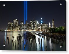 Nyc - Tribute Lights - The Pilings Acrylic Print by Shane Psaltis